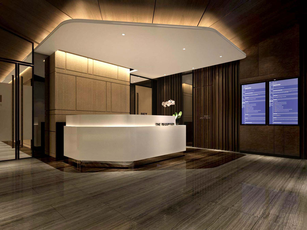 MRI PET center interior design_reception