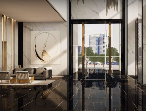 Residential high rise luxury entrance and lift lobby