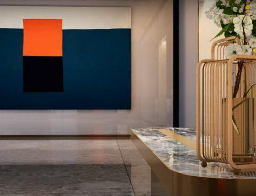 Modern residential lobby interior design for a high rise development